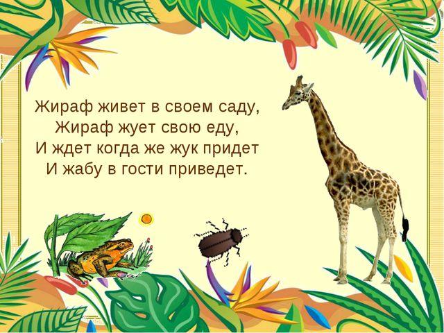 Жираф живет в своем саду, Жираф жует свою еду, И ждет когда же жук придет И ж...