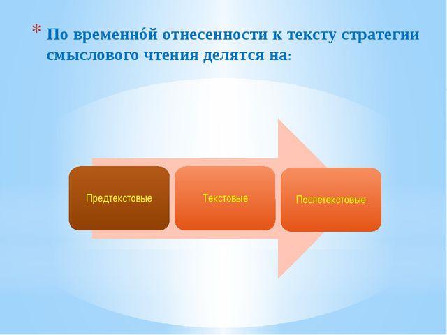 По временнóй отнесенности к тексту стратегии смыслового чтения делятся на: