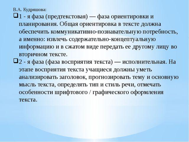 В.А. Кудряшова: 1 - я фаза (предтекстовая) — фаза ориентировки и планирования...