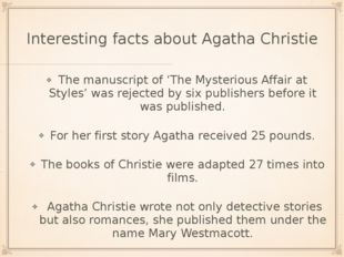 Interesting facts about Agatha Christie The manuscript of 'The Mysterious Aff
