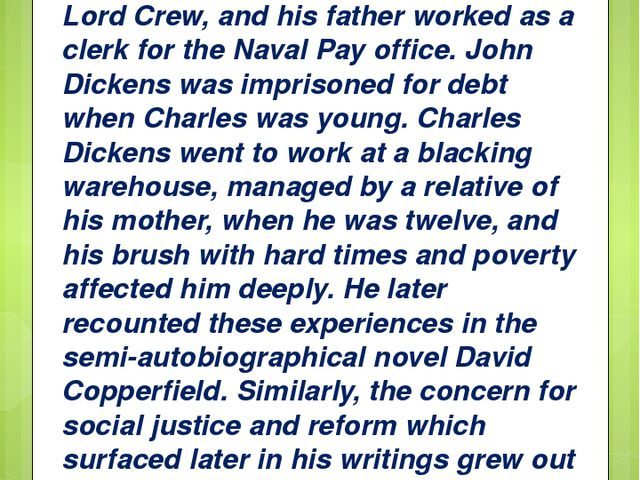 He was the second of eight children. His mother had been in service to Lord C...