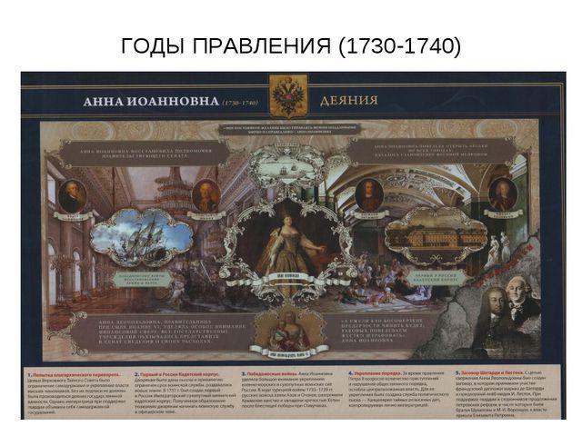 ГОДЫ ПРАВЛЕНИЯ (1730-1740)