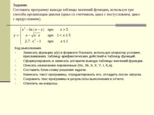 Задание. Составить программу вывода таблицы значений функции, используя три с