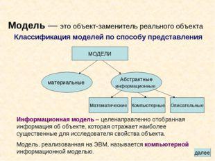 Модель — это объект-заменитель реального объекта Классификация моделей по спо