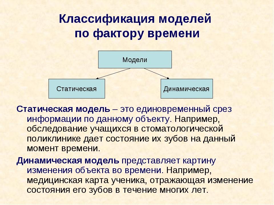 Классификация моделей по фактору времени Статическая модель – это единовремен...