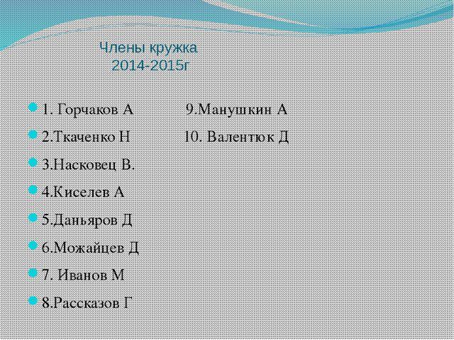 Члены кружка 2014-2015г 1. Горчаков А 9.Манушкин А 2.Ткаченко Н 10. Валентюк...