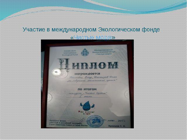 Участие в международном Экологическом фонде «Чистые моря»