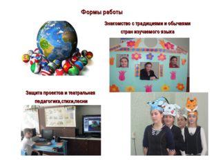 Формы работы Знакомство с традициями и обычаями стран изучаемого языка Защита