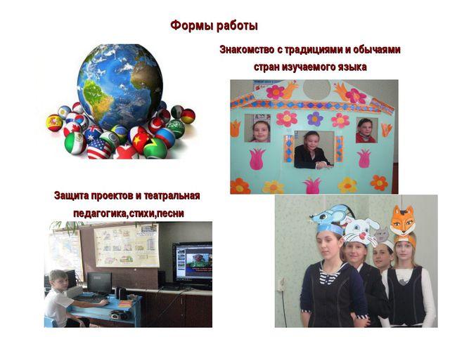 Формы работы Знакомство с традициями и обычаями стран изучаемого языка Защита...