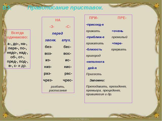 В3. Правописание приставок. Всегда одинаково: а-, до-, на-, пере-, по-, недо-...