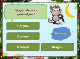 Какая обезьяна существует? Бабуин Дедуин Папуин Мамуин Подумай! Молодец!