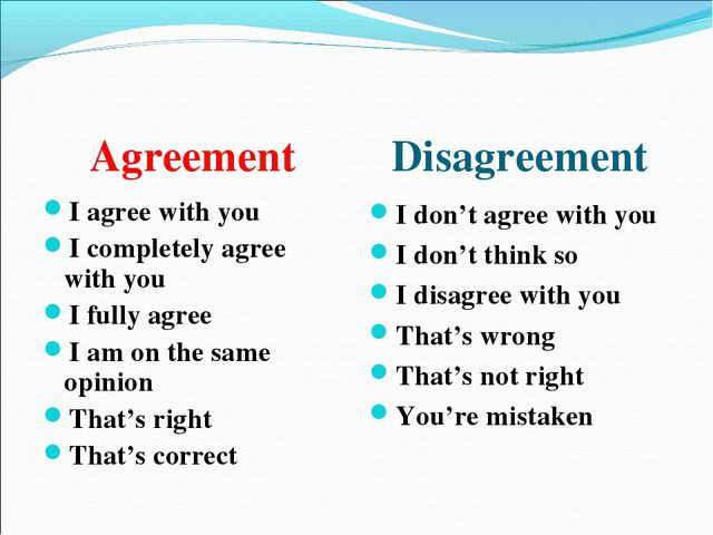 Agreement Disagreement I agree with you I completely agree with you I fully a...