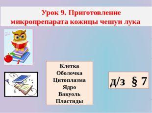 Урок 9. Приготовление микропрепарата кожицы чешуи лука д/з § 7 Клетка Оболоч