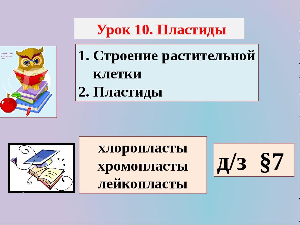 Урок 10. Пластиды 1. Строение растительной клетки 2. Пластиды хлоропласты хр...