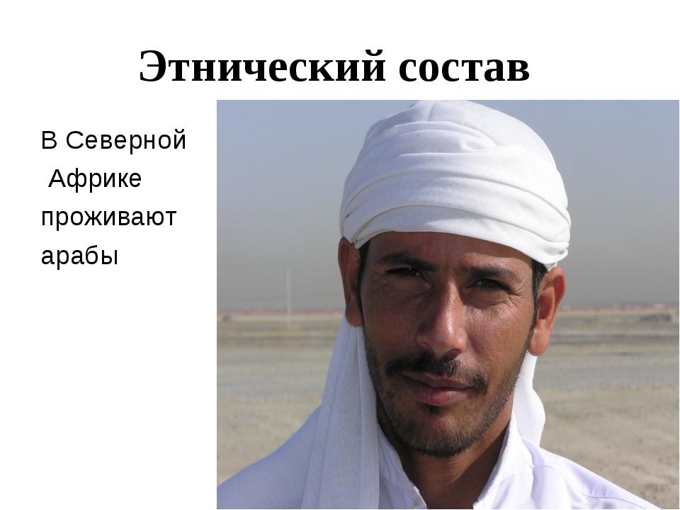 Этнический состав В Северной Африке проживают арабы