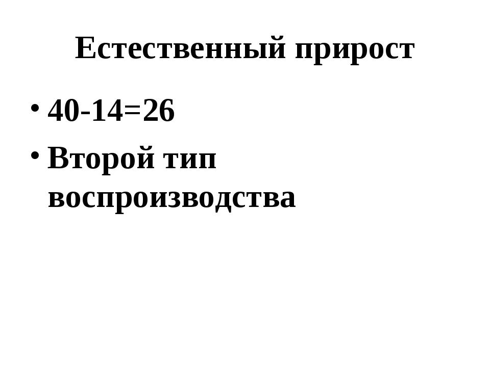 Естественный прирост 40-14=26 Второй тип воспроизводства