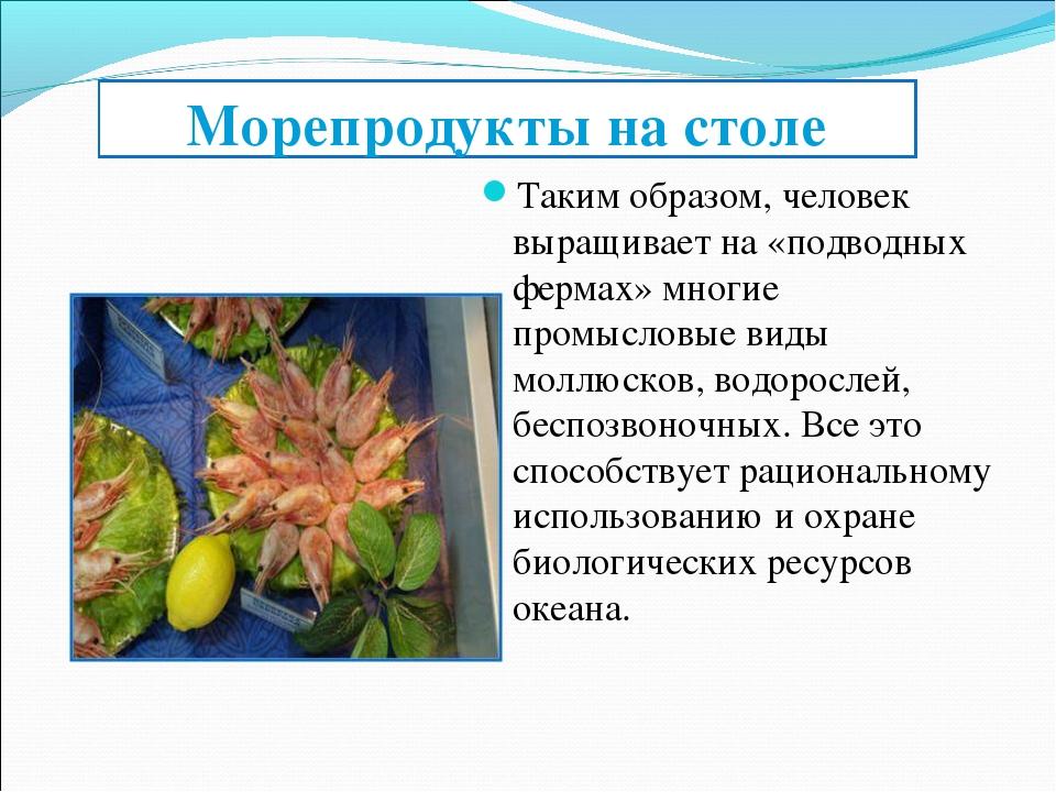 Морепродукты на столе Таким образом, человек выращивает на «подводных фермах»...