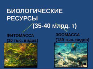 БИОЛОГИЧЕСКИЕ РЕСУРСЫ (35-40 млрд. т) ФИТОМАССА (10 тыс. видов) ЗООМАССА (180
