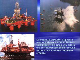 Ежегодно на шельфах Мирового океана добывается около 700 млн. тонн нефти и 30