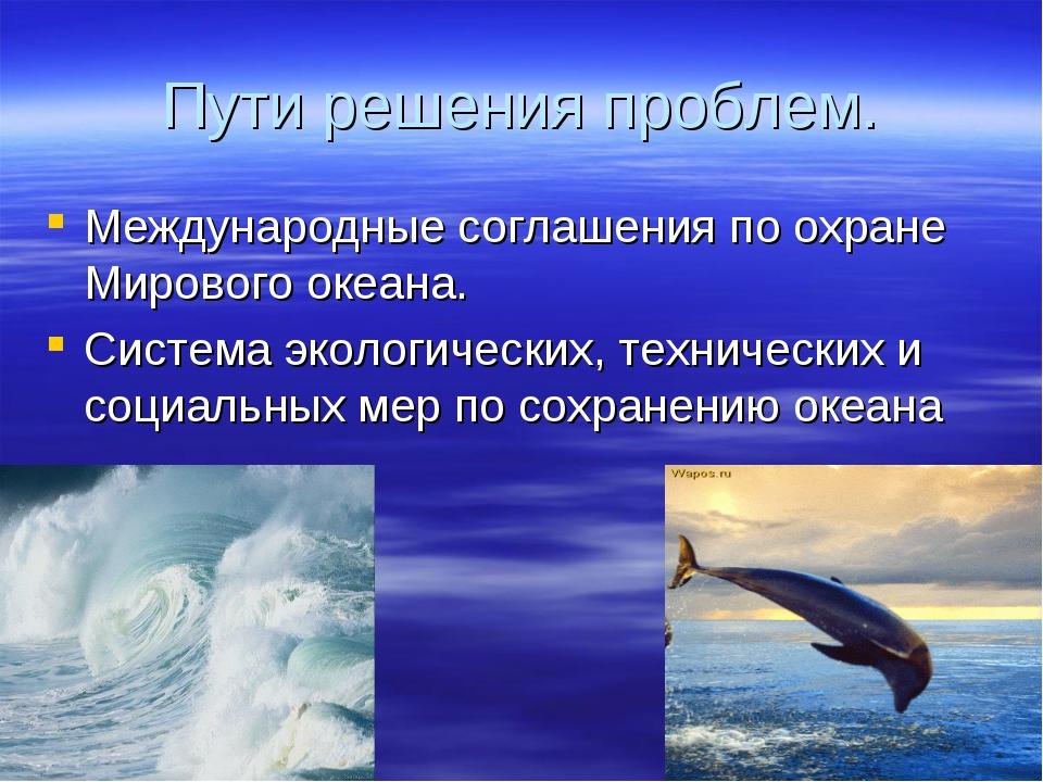 Пути решения проблем. Международные соглашения по охране Мирового океана. Сис...