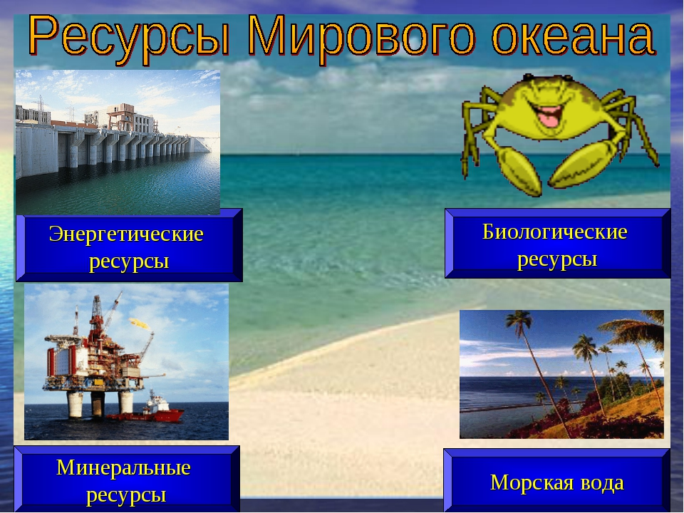 Морская вода Минеральные ресурсы Биологические ресурсы Энергетические ресурсы