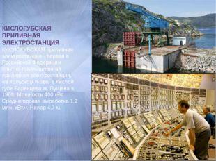 КИСЛОГУБСКАЯ ПРИЛИВНАЯ ЭЛЕКТРОСТАНЦИЯ КИСЛОГУБСКАЯ приливная электростанция -