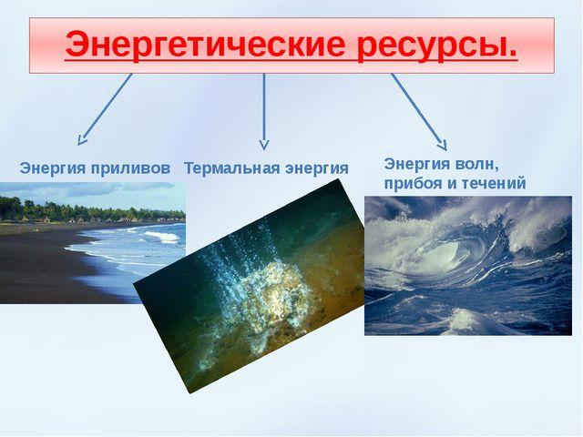 Энергетические ресурсы. Энергия волн, прибоя и течений Энергия приливов Терма...