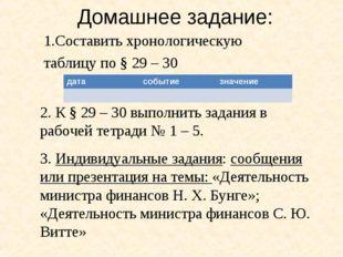 Домашнее задание: 1.Составить хронологическую таблицу по § 29 – 30 2. К § 29