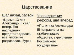 Царствование Шаг назад, застой «Целых 13 лет Александр III сеял ветер. Его на