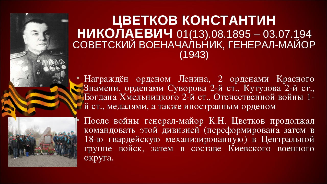 ЦВЕТКОВ КОНСТАНТИН НИКОЛАЕВИЧ 01(13).08.1895 – 03.07.194 СОВЕТСКИЙ ВОЕНАЧАЛЬН...