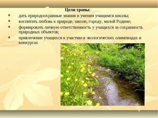 Цели тропы: дать природоохранные знания и умения учащимся школы; воспитать лю