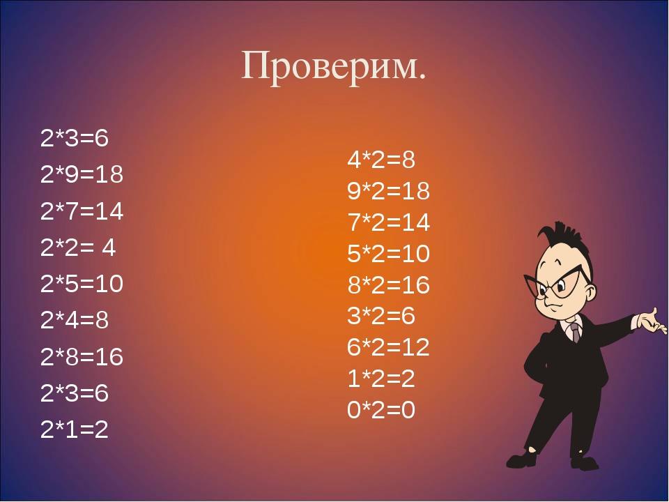 Проверим. 2*3=6 2*9=18 2*7=14 2*2= 4 2*5=10 2*4=8 2*8=16 2*3=6 2*1=2 4*2=8 9*...