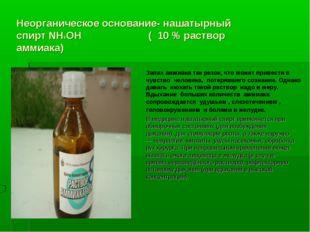 Неорганическое основание- нашатырный спирт NН4ОН ( 10 % раствор аммиака) Запа