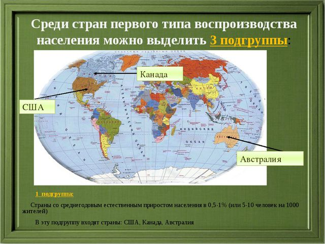 1  подгруппа: 1  подгруппа:      Страны со среднегодовым естественным прир...