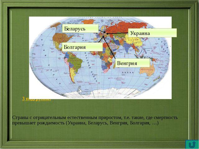 3 подгруппа: 3 подгруппа: Страны с отрицательным естественным приростом, т...