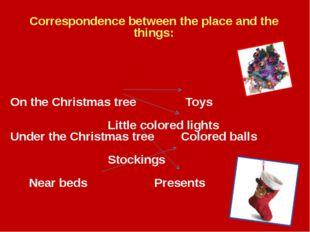 Correspondence between the place and the things: On the Christmas tree		 Toys