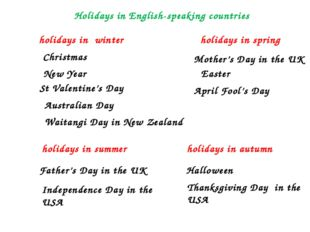 holidays in winter holidays in spring holidays in summer holidays in autumn C