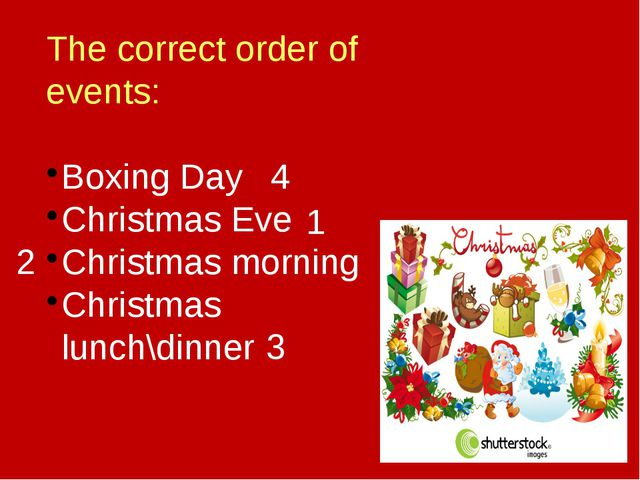 The correct order of events: Boxing Day Christmas Eve Christmas morning Chris...