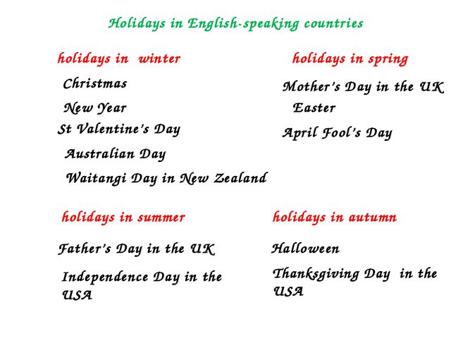 holidays in winter holidays in spring holidays in summer holidays in autumn C...