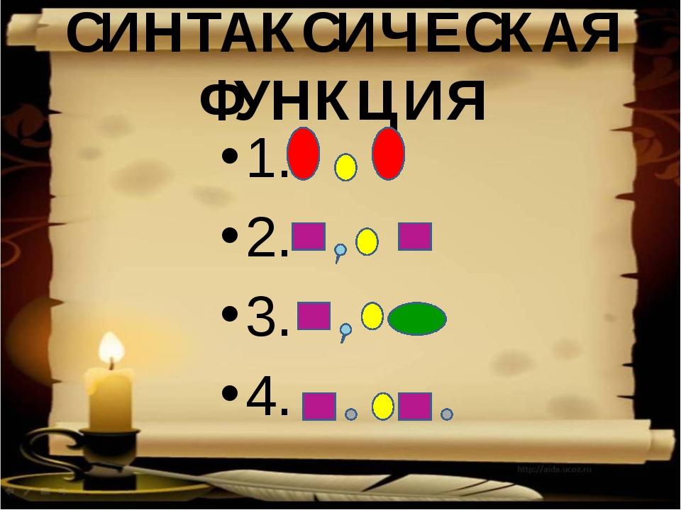 СИНТАКСИЧЕСКАЯ ФУНКЦИЯ 1. 2. 3. 4.