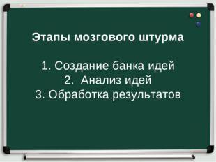 Этапы мозгового штурма 1. Создание банка идей 2. Анализ идей 3. Обработка рез