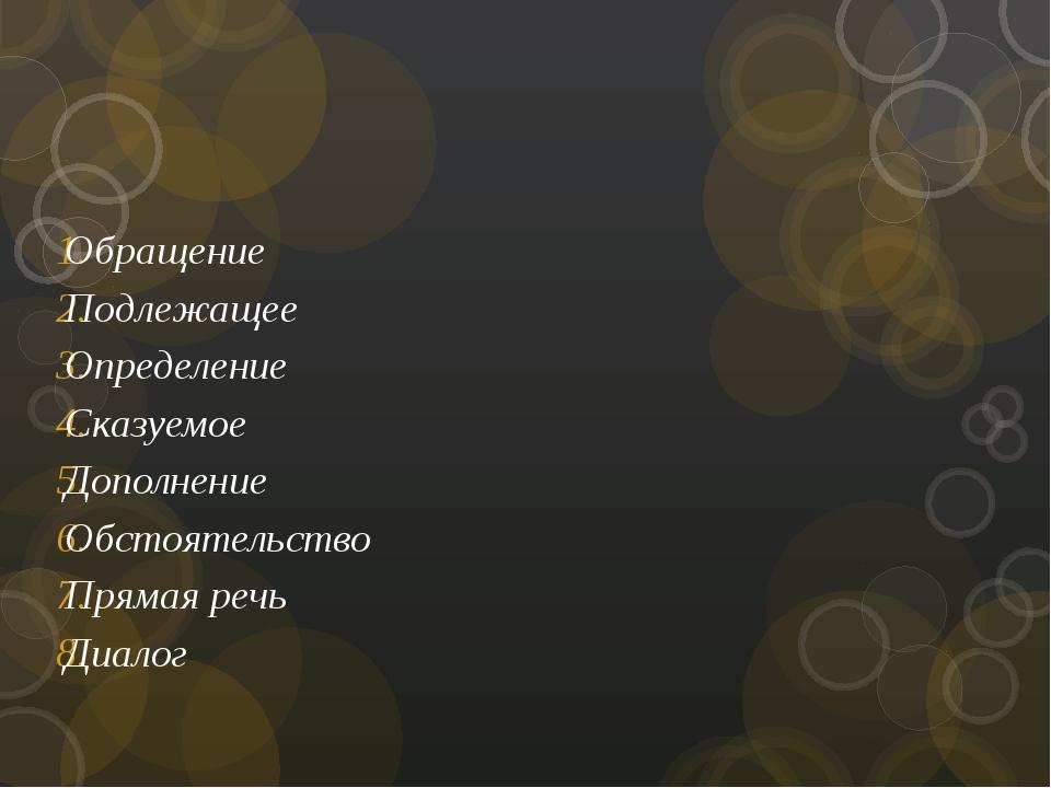 Обращение Подлежащее Определение Сказуемое Дополнение Обстоятельство Прямая...