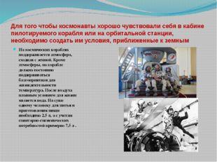 Для того чтобы космонавты хорошо чувствовали себя в кабине пилотируемого кора