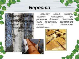 Береста Бересту можно назвать «русским папирусом». При раскопках древнего Нов