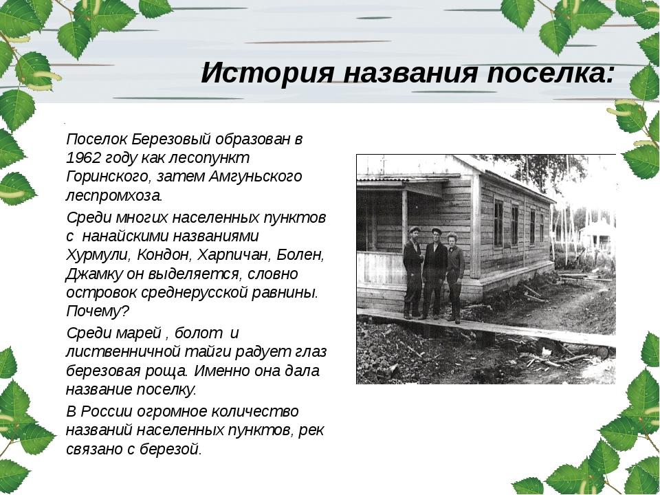 История названия поселка: Поселок Березовый образован в 1962 году как лесопун...