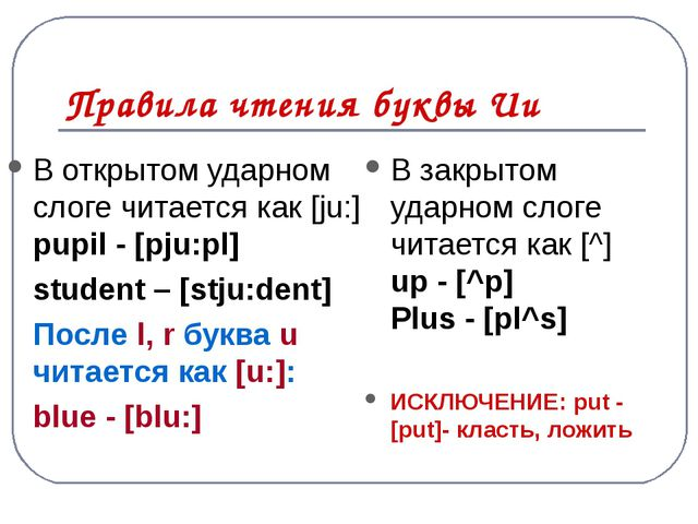 Правила чтения u в английском языке