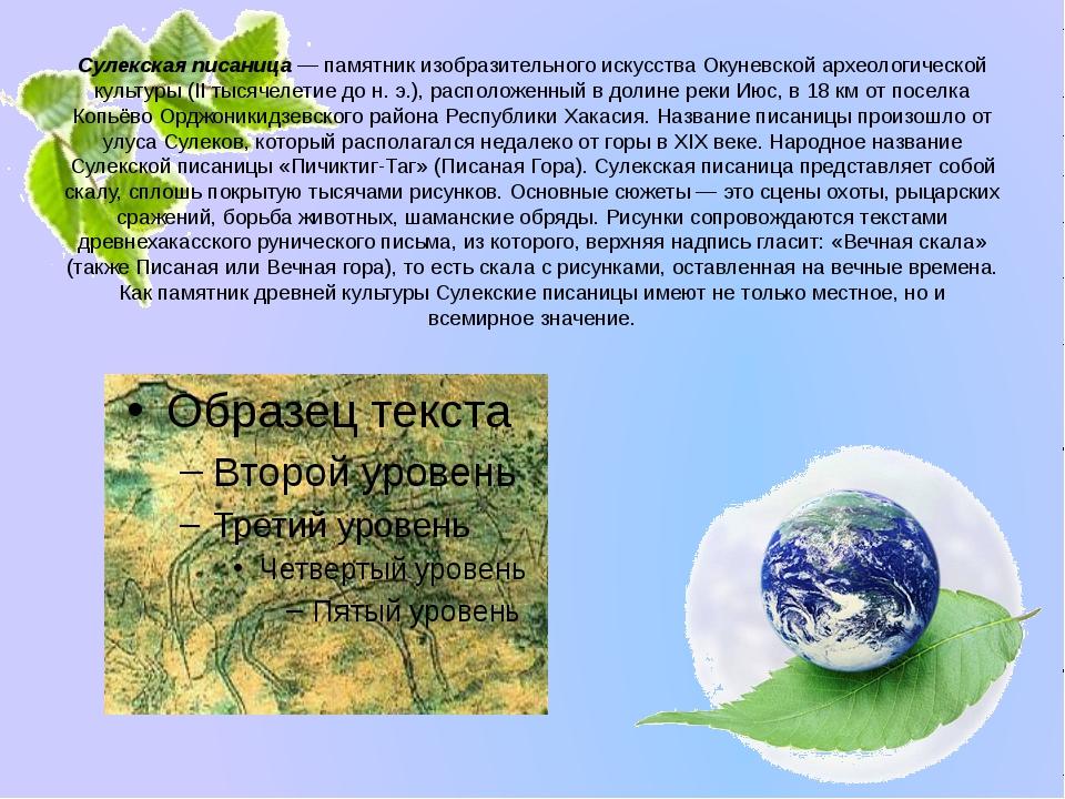 Сулекская писаница — памятник изобразительного искусства Окуневской археологи...
