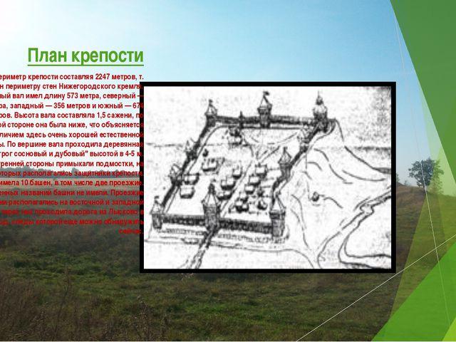 План крепости Общий периметр крепости составляя 2247 метров, т. е. равен пери...