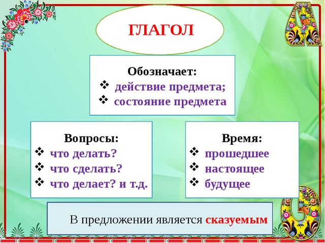 ГЛАГОЛ Обозначает: действие предмета; состояние предмета Вопросы: что делать...