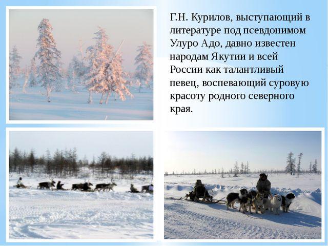 Г.Н. Курилов, выступающий в литературе под псевдонимом Улуро Адо, давно извес...